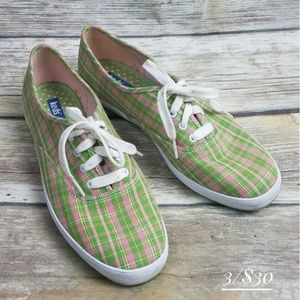 Keds size 7 narrow sneakers shoes plaid green